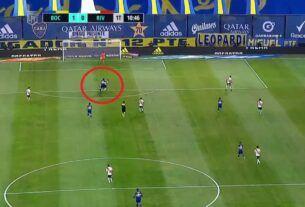 Falta previo al gol de Boca